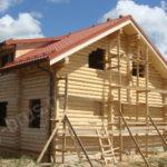 Этап монтажа строительных лесов