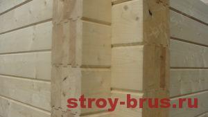 Кленный брус в готовой стене дома