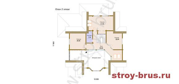 Деревянный дом Каскад, план второго этажа