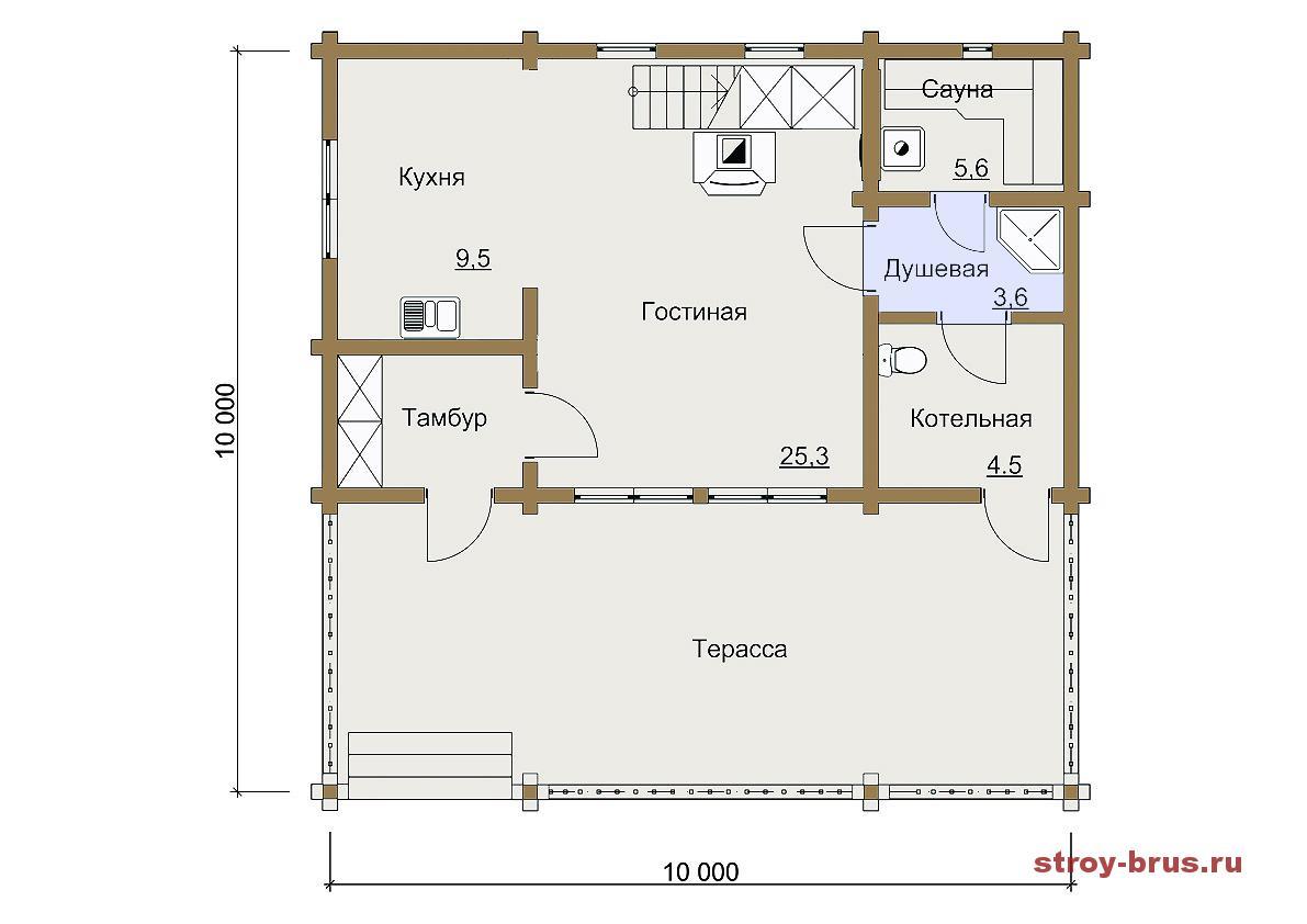 Первый этаж дома Павильон