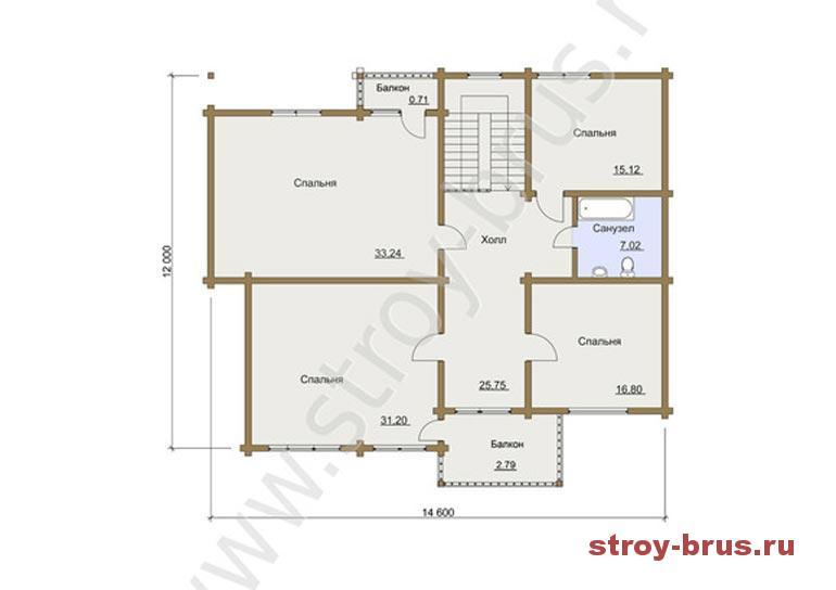 Схема дома из бруса Флагман