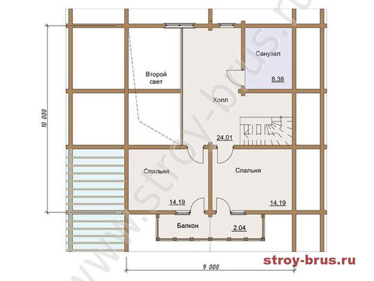 Дом из клееного бруса в стиле шале - схема