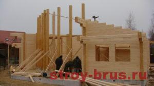 Процесс сборки деревянного дома