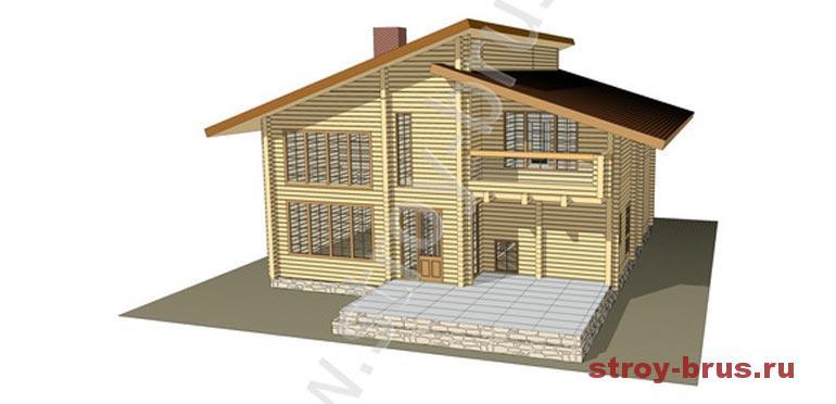 """Как выглядит проект строительства дома из бруса """"Модерн"""""""