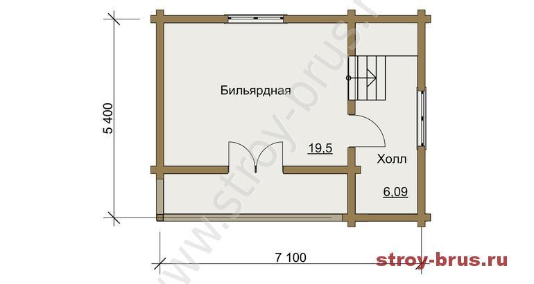 Расположение комнат в бане Флигель