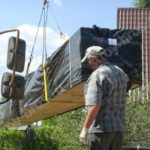 Разгрузка домокомплекта на стройплощадку