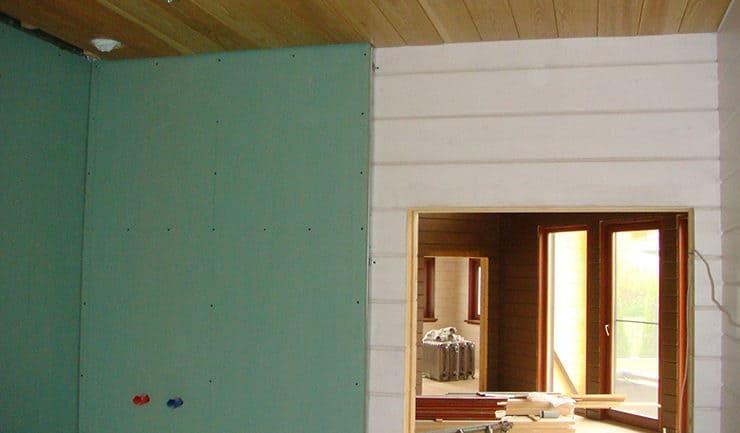 Примыкание стен из клееного бруса к гипсокартону