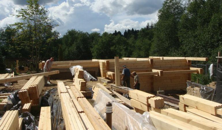 Процесс строительства бани из бруса Брусландия