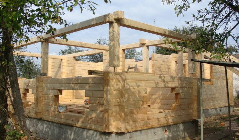 Активная стадия строительства дома с баней д. Шохово