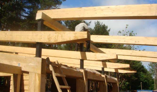 Стропильная система в односкатной двух-уровневой крыше
