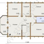 Дом Усадьба из бруса на план-схеме помещений