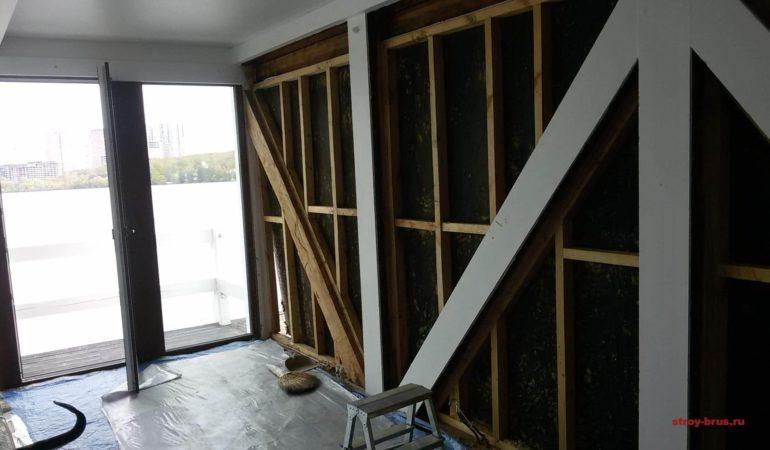 Реконструкция стены из клееного бруса на начальном этапе